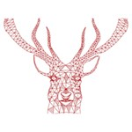 Modern red geometric christmas deer illustration Heart Bottom 3D Greeting Card (7x5)  Front