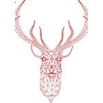 Modern red geometric christmas deer illustration Heart Bottom 3D Greeting Card (7x5)  Inside