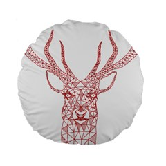 Modern Red Geometric Christmas Deer Illustration Standard 15  Premium Round Cushions by Dushan