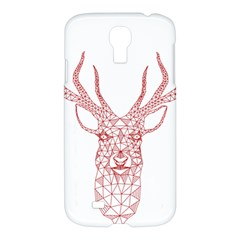 Modern Red Geometric Christmas Deer Illustration Samsung Galaxy S4 I9500/i9505 Hardshell Case by Dushan