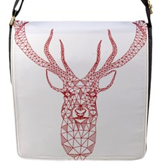 Modern Red Geometric Christmas Deer Illustration Flap Messenger Bag (s) by Dushan