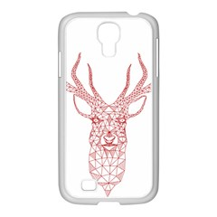 Modern Red Geometric Christmas Deer Illustration Samsung Galaxy S4 I9500/ I9505 Case (white)