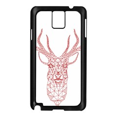 Modern Red Geometric Christmas Deer Illustration Samsung Galaxy Note 3 N9005 Case (black) by Dushan
