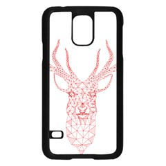 Modern Red Geometric Christmas Deer Illustration Samsung Galaxy S5 Case (black) by Dushan