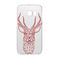 Modern Red Geometric Christmas Deer Illustration Galaxy S6 Edge by Dushan