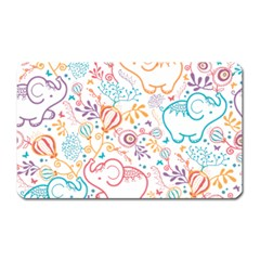 Cute Pastel Tones Elephant Pattern Magnet (rectangular) by Dushan