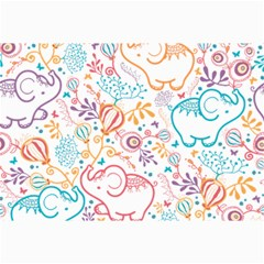 Cute Pastel Tones Elephant Pattern Collage 12  X 18  by Dushan
