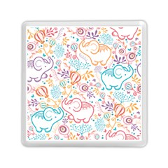 Cute Pastel Tones Elephant Pattern Memory Card Reader (square)  by Dushan