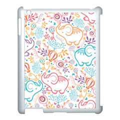 Cute Pastel Tones Elephant Pattern Apple Ipad 3/4 Case (white) by Dushan