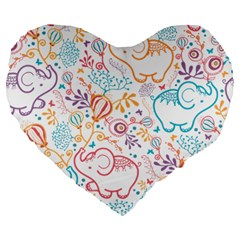 Cute Pastel Tones Elephant Pattern Large 19  Premium Heart Shape Cushions by Dushan