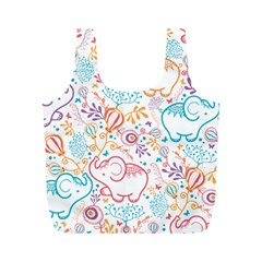 Cute Pastel Tones Elephant Pattern Full Print Recycle Bags (m)  by Dushan