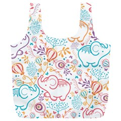 Cute Pastel Tones Elephant Pattern Full Print Recycle Bags (l)  by Dushan
