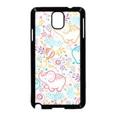 Cute Pastel Tones Elephant Pattern Samsung Galaxy Note 3 Neo Hardshell Case (black) by Dushan