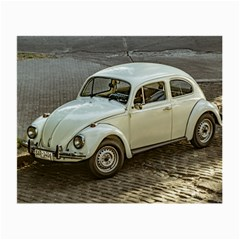 Classic Beetle Car Parked On Street Small Glasses Cloth (2-side) by dflcprints