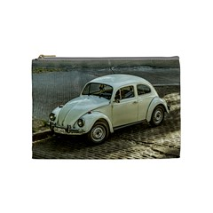 Classic Beetle Car Parked On Street Cosmetic Bag (medium)  by dflcprints