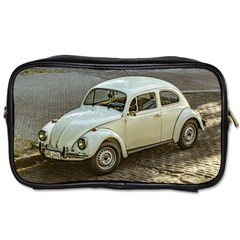 Classic Beetle Car Parked On Street Toiletries Bags by dflcprints