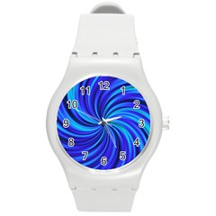 Happy, Blue Round Plastic Sport Watch (m) by MoreColorsinLife