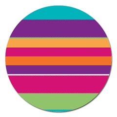 Jagged Stripes Magnet 5  (round) by LalyLauraFLM
