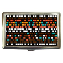 Squares Pattern In Retro Colors Cigarette Money Case by LalyLauraFLM