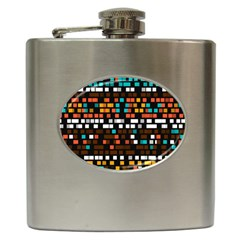Squares Pattern In Retro Colors Hip Flask (6 Oz) by LalyLauraFLM