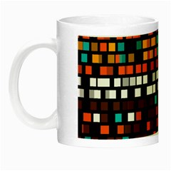 Squares Pattern In Retro Colors Night Luminous Mug by LalyLauraFLM