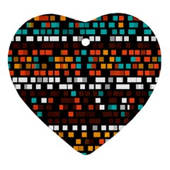 Squares Pattern In Retro Colors Heart Ornament (two Sides) by LalyLauraFLM
