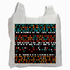Squares Pattern In Retro Colors Recycle Bag (one Side) by LalyLauraFLM
