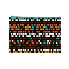 Squares Pattern In Retro Colors Cosmetic Bag (large) by LalyLauraFLM