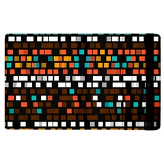 Squares Pattern In Retro Colors Apple Ipad 3/4 Flip Case by LalyLauraFLM