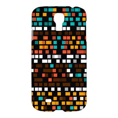 Squares Pattern In Retro Colors Samsung Galaxy S4 I9500/i9505 Hardshell Case by LalyLauraFLM