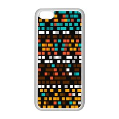Squares Pattern In Retro Colors Apple Iphone 5c Seamless Case (white)