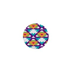 Triangles And Other Shapes Pattern 1  Mini Button by LalyLauraFLM