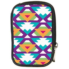 Triangles And Other Shapes Pattern Compact Camera Leather Case by LalyLauraFLM