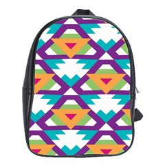 Triangles And Other Shapes Pattern School Bag (large) by LalyLauraFLM