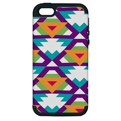 Triangles And Other Shapes Pattern Apple Iphone 5 Hardshell Case (pc+silicone) by LalyLauraFLM