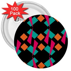 Shapes In Retro Colors  3  Button (100 Pack) by LalyLauraFLM