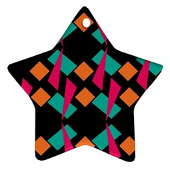 Shapes In Retro Colors  Star Ornament (two Sides)