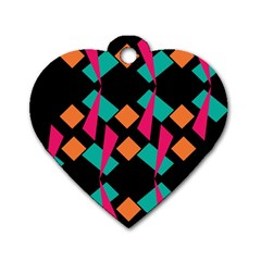 Shapes In Retro Colors  Dog Tag Heart (two Sides) by LalyLauraFLM