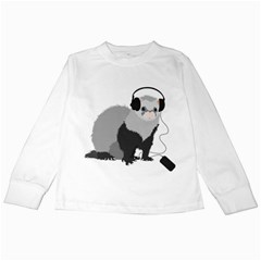 Funny Music Lover Ferret Kids Long Sleeve T Shirts by CreaturesStore