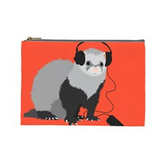 Funny Music Lover Ferret Cosmetic Bag (large)  by CreaturesStore