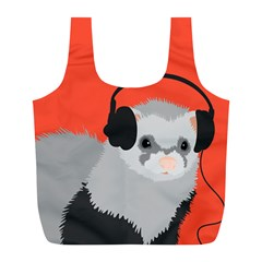 Funny Music Lover Ferret Full Print Recycle Bags (l)  by CreaturesStore