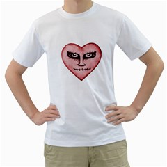 Angry Devil Heart Drawing Print Men s T-shirt (white)  by dflcprints