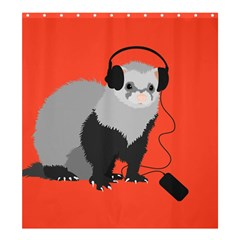 Funny Music Lover Ferret Shower Curtain 66  X 72  (large)  by CreaturesStore