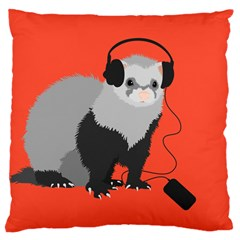 Funny Music Lover Ferret Large Cushion Cases (one Side)  by CreaturesStore