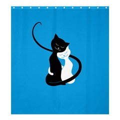 Blue Hugging Love Cats Shower Curtain 66  X 72  (large)  by CreaturesStore