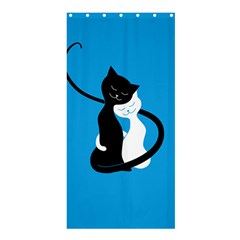 Blue Hugging Love Cats Shower Curtain 36  X 72  (stall)  by CreaturesStore