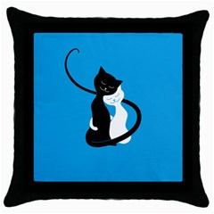 Blue Hugging Love Cats Throw Pillow Cases (black) by CreaturesStore