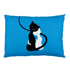 Blue Hugging Love Cats Pillow Cases