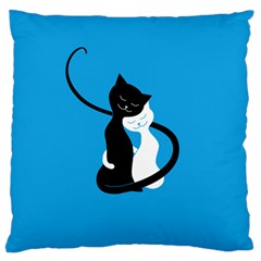 Blue Hugging Love Cats Large Flano Cushion Cases (one Side)  by CreaturesStore