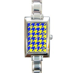 Houndstooth 2 Blue Rectangle Italian Charm Watches by MoreColorsinLife